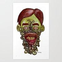 Heads of the Living Dead  Zombies: Gum Disease Zombie Art Print