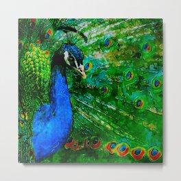 Peacock watercolor Metal Print