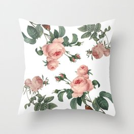 Rose Garden Butterfly Pink on White Throw Pillow