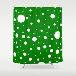 Mixed Polka Dots - White on Green Shower Curtain