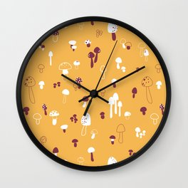 Autumn Mushrooms Mustard Wall Clock