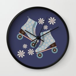 Retro Roller Skates  - blue and white  Wall Clock