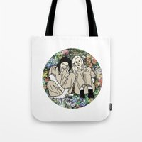 oitnb Tote Bags featuring OITNB Floral by MODERN UNDERGROUND