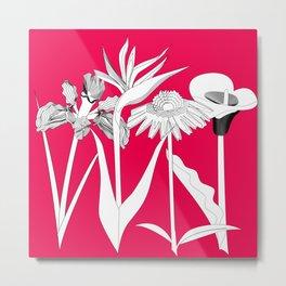 Spring Flowas Bring Girl Powas, Black and White Illustration Metal Print