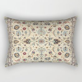 Persian Kashan Old Century Authentic Colorful Dusty Baby Blue Vintage Rug Pattern Rectangular Pillow