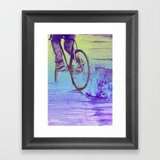 Skidding Bike Framed Art Print