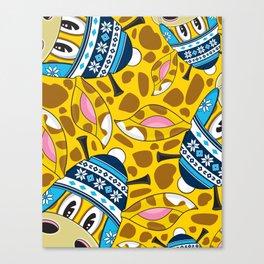 Cute Cartoon Bobble Hat Giraffe Canvas Print