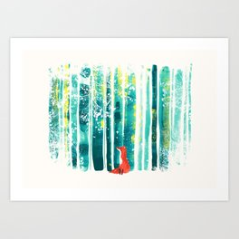 Fox in quiet forest Art Print