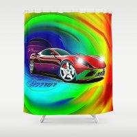 ferrari Shower Curtains featuring Ferrari by JT Digital Art