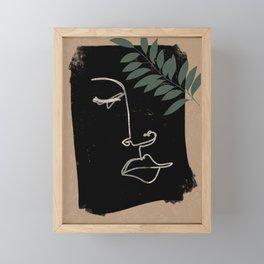 Roman's Face Abstract Line Work with Farn Framed Mini Art Print