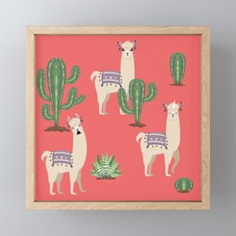Llama with Cacti Framed Mini Art Print