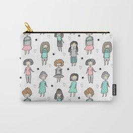 Girls illustration little women cute pattern kids rooms children gifts Carry-All Pouch