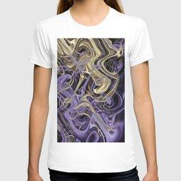 Gold & Ultra Violet Liquid Marble Love T-shirt