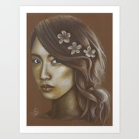snsd Art Prints featuring Sepia Yoona by Jane Stradwick