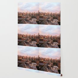 Manhattan City Skyline from Queens at Sunrise Wallpaper