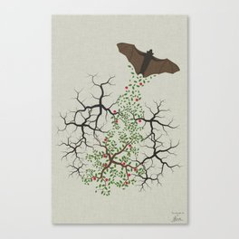 fruit bat paints forest Canvas Print