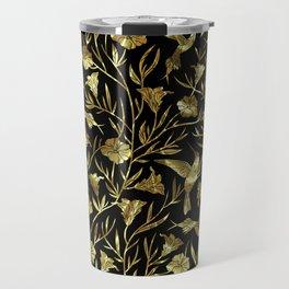 Black and gold foil humming birds & leafs pattern Travel Mug
