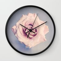 rose Wall Clocks featuring Rose by Juste Pixx Photography