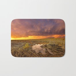 Lost In Time - Broken Windmill and Stormy Sky in Kansas Bath Mat