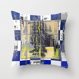 Sunday Morning - blue check Throw Pillow