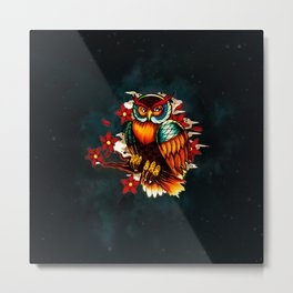 FLOWERS AND OWL Metal Print