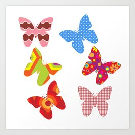 Pink and Blue Butterfly Pattern on White Background Art Print
