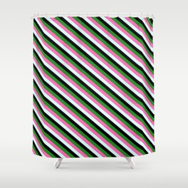 Forest Green, Hot Pink, Light Cyan & Black Colored Lined Pattern Shower Curtain