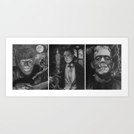 Classic Monsters Triptych Art Print