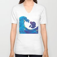 hokusai V-neck T-shirts featuring Hokusai Rainbow & Babydolphin by FACTORIE