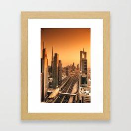 dubai road Framed Art Print