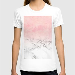 Modern blush pink watercolor ombre white marble T-shirt