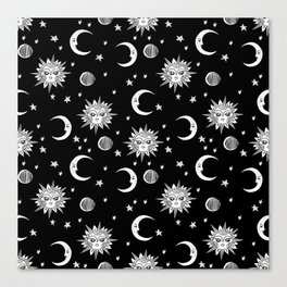 Linocut black and white sun moon and stars outer space zodiac astrology gifts Canvas Print