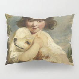 Joshua Reynolds - A Young Girl and Her Dog Pillow Sham