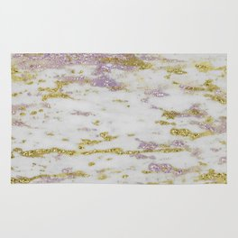 Gold Pantone Purple Marble Design Rug