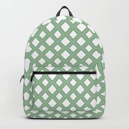 Green white Diamond Pattern Backpack