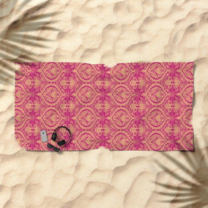 Simple Ogee Pink Beach Towel