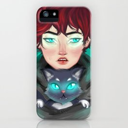 Glowing eyes by Ane Teruel iPhone Case