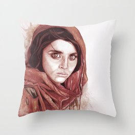Sharbat Gula black/white Throw Pillow