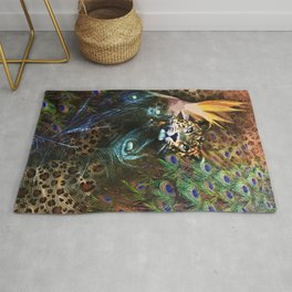 Exotic Leopard Peacock Feather Animal Print Floral Rug