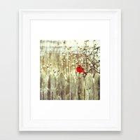 cardinal Framed Art Prints featuring cardinal by Bonnie Jakobsen-Martin