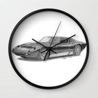 lamborghini Wall Clocks featuring Lamborghini Miura P400 by Gábor Vida