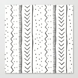 Moroccan Stripe in Cream and Black Canvas Print