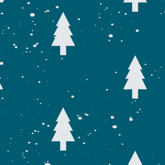 Christmas Trees Pattern Teal Leggings