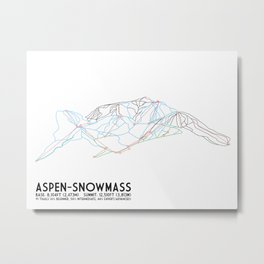 Aspen, CO - Snowmass - Minimalist Trail Map Metal Print