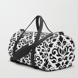 Scroll Damask Large Pattern Black on White Duffle Bag