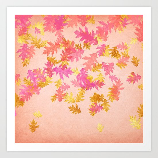 Autumn-world 1 - gold glitter leaves on pink background Art Print