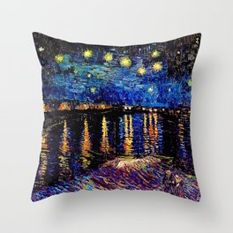 Over the rhone(starry night) Throw Pillow