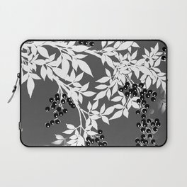 TREE BRANCHES GRAY WHITE WITH BLACK BERRIES Laptop Sleeve