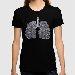 Lungs with peonies on black T-shirt