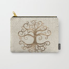 Tree of life Pastel Gold on Canvas Carry-All Pouch